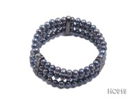 3 strand 6mm black round freshwater pearl bracelet