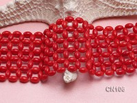 5x7mm Oval Red Coral Hand-Weaved Bracelet