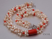 6-6.5 Rice-Shaped White Pearl and Red Coral Necklace