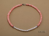 7-8mm Wheel-Shaped Pink Coral and White Pearl Necklace
