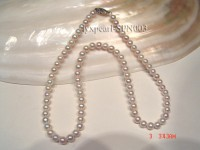5-5.5mm white round seawater pearl necklace with white gilded clasp