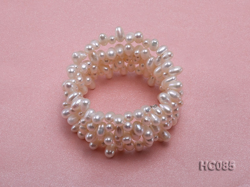 5 strand 5x7mm side-drilled white freshwater pearl bracelet