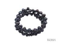 3 strand 5x7mm black freshwater pearl bracelet