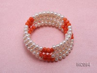 5 strand 5.5mm white freshwater pearl and coral bracelet