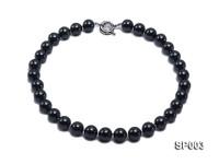 12mm shiny black round seashell pearl necklace
