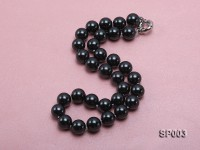 12mm shiny black round seashell pearl necklace