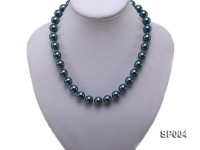 12mm peacock blue round seashell pearl necklace