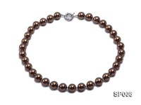 12mm coffee round seashell pearl necklace