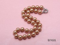 12mm light coffee round seashell pearl necklace