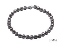 12mm dark grey round seashell pearl necklace