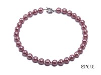 12mm claret-red round seashell pearl necklace