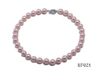12mm pink round seashell pearl necklace