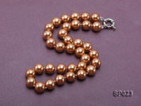 12mm bronze round seashell pearl necklace