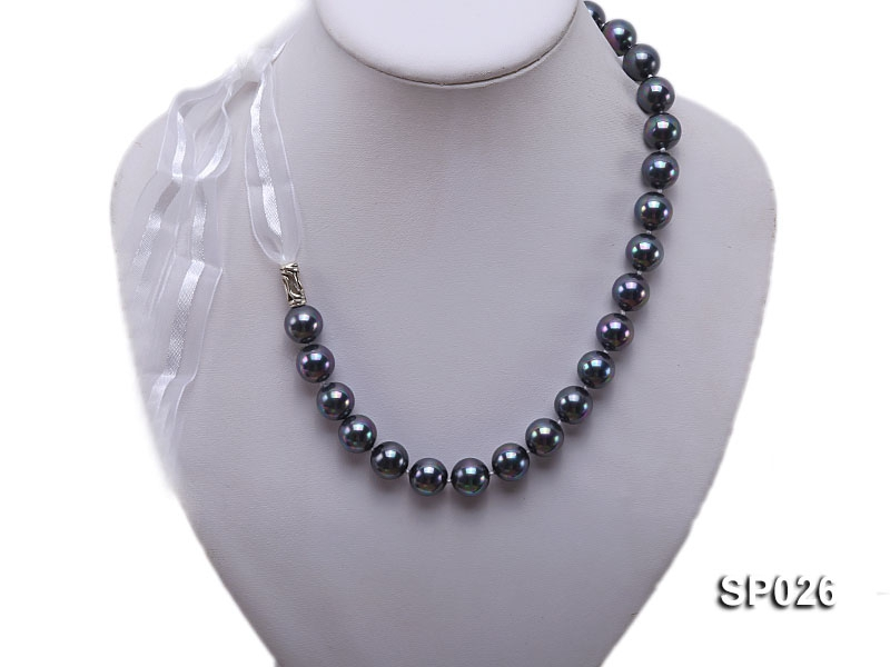 12mm black round seashell pearl necklace with white ribbon