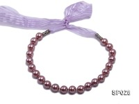 12mm lavender seashell pearl necklace with purple ribbon