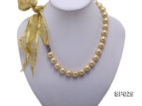 12mm golden round seashell pearl necklace with golden riband