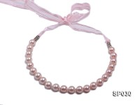 12mm pink round seashell pearl necklace with pink riband