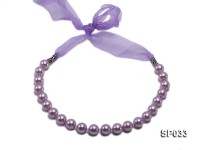 12mm lavender round seashell pearl necklace with lavender ribbon