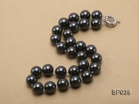 16mm shiny black round seashell pearl necklace