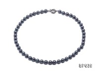 8mm black round seashell pearl necklace with white gilded clasp