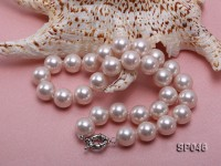 Gorgeous 14mm white round seashell pearl necklace