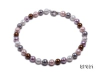 12mm multi-color round seashell pearl necklace