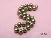 16mm peacock green round seashell pearl necklace