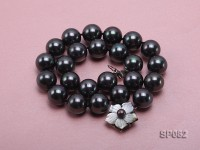 16mm black round seashell pearl necklace with a shell flower clasp