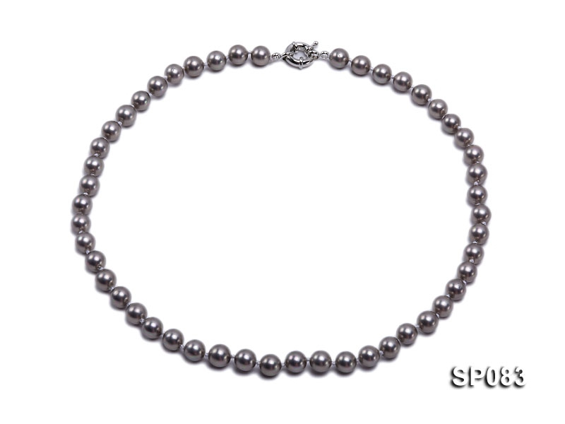 8mm grey round seashell pearl necklace
