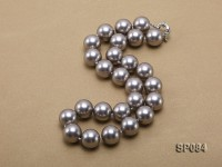 16mm shiny grey round seashell pearl necklace