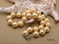 16mm golden round seashell pearl necklace
