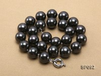 16mm radiant black round seashell pearl necklace