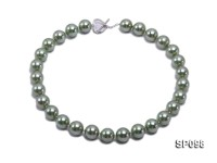 14mm peacock green round seashell pearl necklace