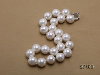 16mm white round seashell pearl necklace with sterling silver clasp