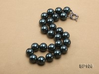16mm black round seashell pearl necklace with sterling silver clasp