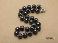 14mm black round seashell pearl necklace