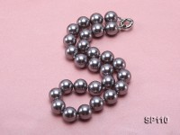 14mm dark grey round seashell pearl necklace