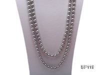 10mm grey round seashell pearl opera necklace
