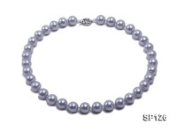 14mm grey round seashell pearl necklace