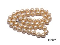 16mm golden round seashell pearl opera necklace