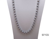 12mm grey round seashell pearl necklace