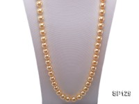 14mm golden round seashell pearl opera necklace