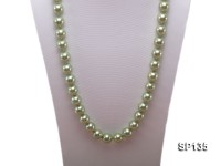 14mm green round seashell pearl necklace