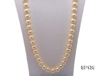 14mm light yellow round seashell pearl necklace
