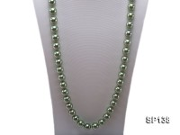 14mm light green round seashell pearl necklace