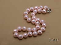 16mm pink round seashell pearl necklace