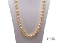 14mm yellow round seashell pearl necklace
