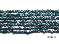 Wholesale 5-6mm Peacock Blue Flat  Freshwater Pearl String