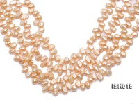 Wholesale 6x8mm Orange Pink Side-drilled Cultured Freshwater Pearl String