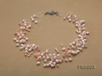 20-strand 5mm White Cultured Freshwater Pearl & Pink Coral Sticks Galaxy Necklace